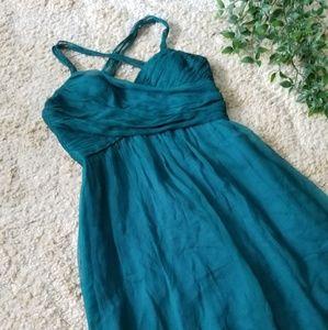 Shoshanna | 6 | Teal Flowy Crossback Halter Dress